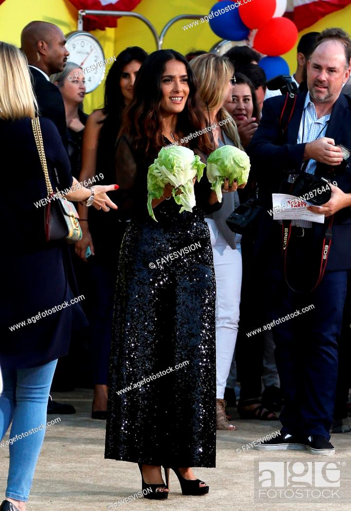 Stock Photo: Premiere of Sony's 'Sausage Party' at Regency Village Theatre - Arrivals Featuring: Salma Hayek Where: Westwood, California.