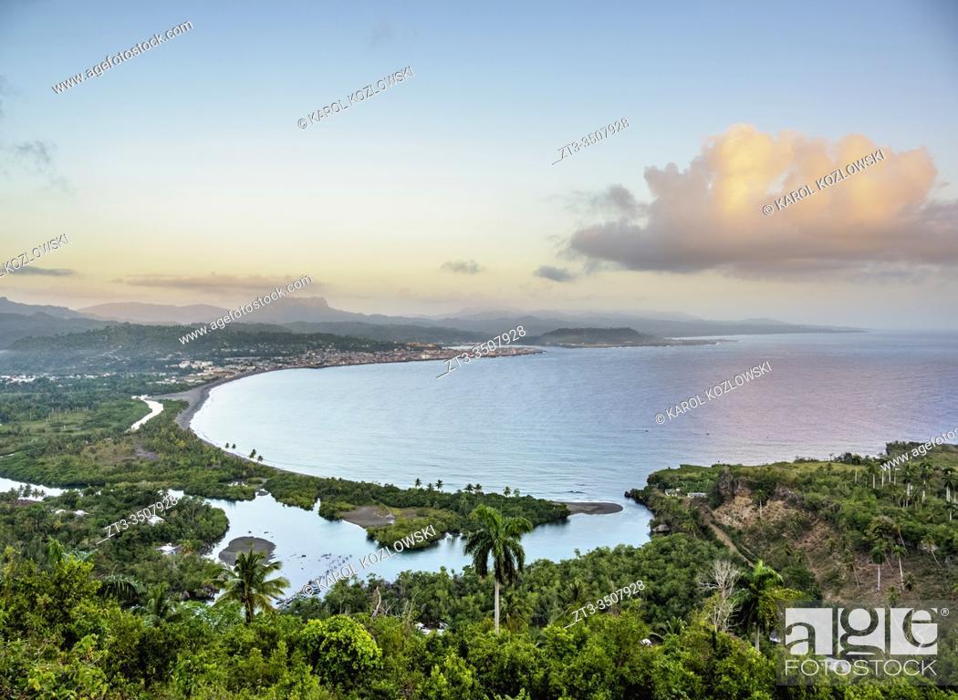 Stock Photo: View over Bahia de Miel towards city and El Yunque Mountain, Baracoa, Guantanamo Province, Cuba.