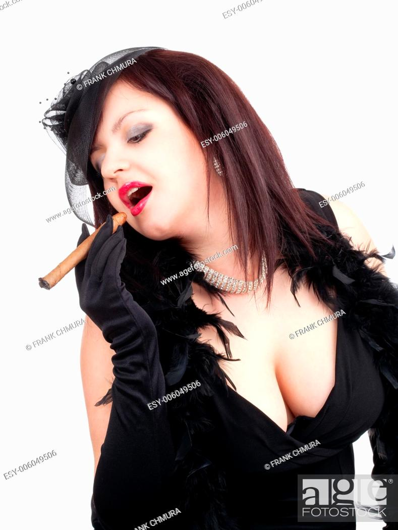 Stock Photo: Young Woman with Black Hat and Gloves Smoking Cigar.