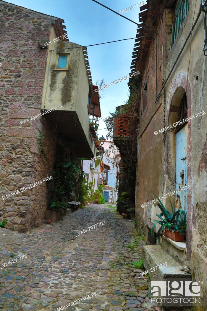 Stock Photo: a cobbled street in the old village of Bortigali, Sardinia, italy.