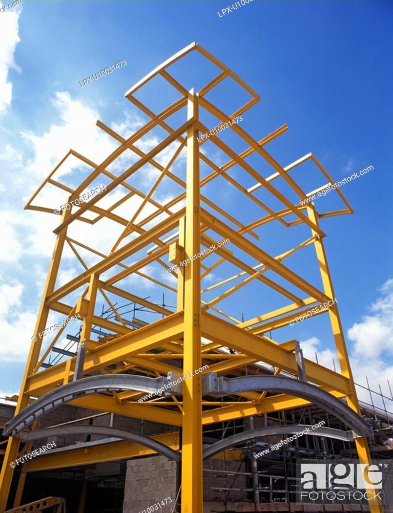 Stock Photo: Steel Frame, Warehousing, England.