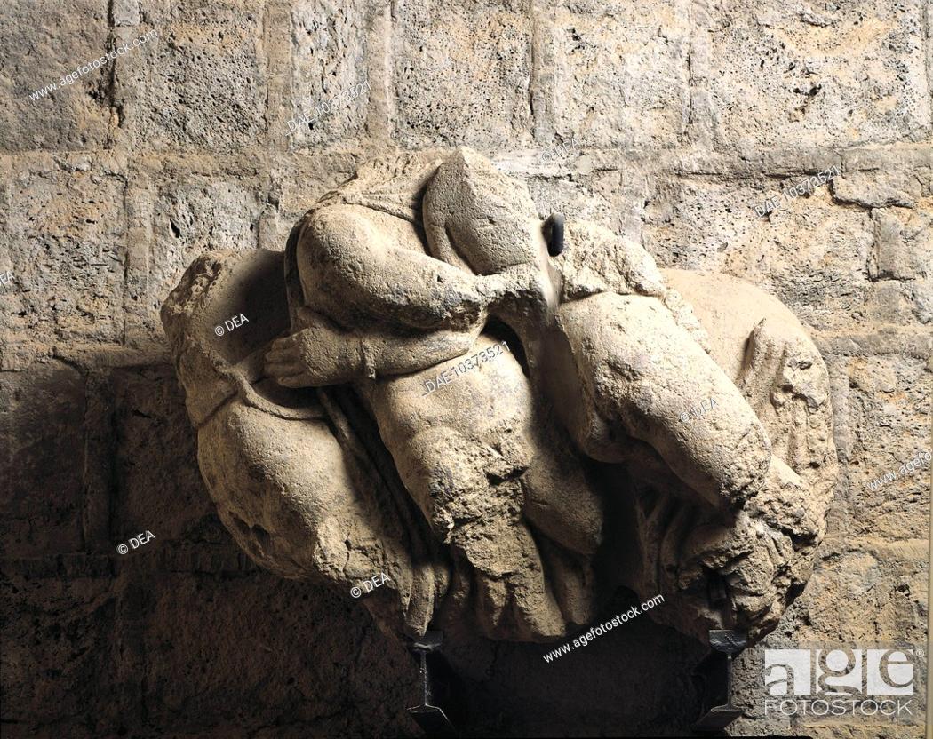 Stock Photo: Etruscan civilization, 3rd century A.D. A collection of sculptures depicting abduction of the Leucippides. From Broken Bridge Necropolis.