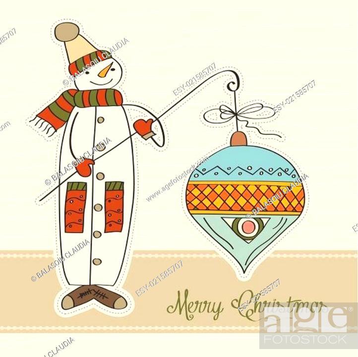 Stock Vector: snowman with big Christmas ball.
