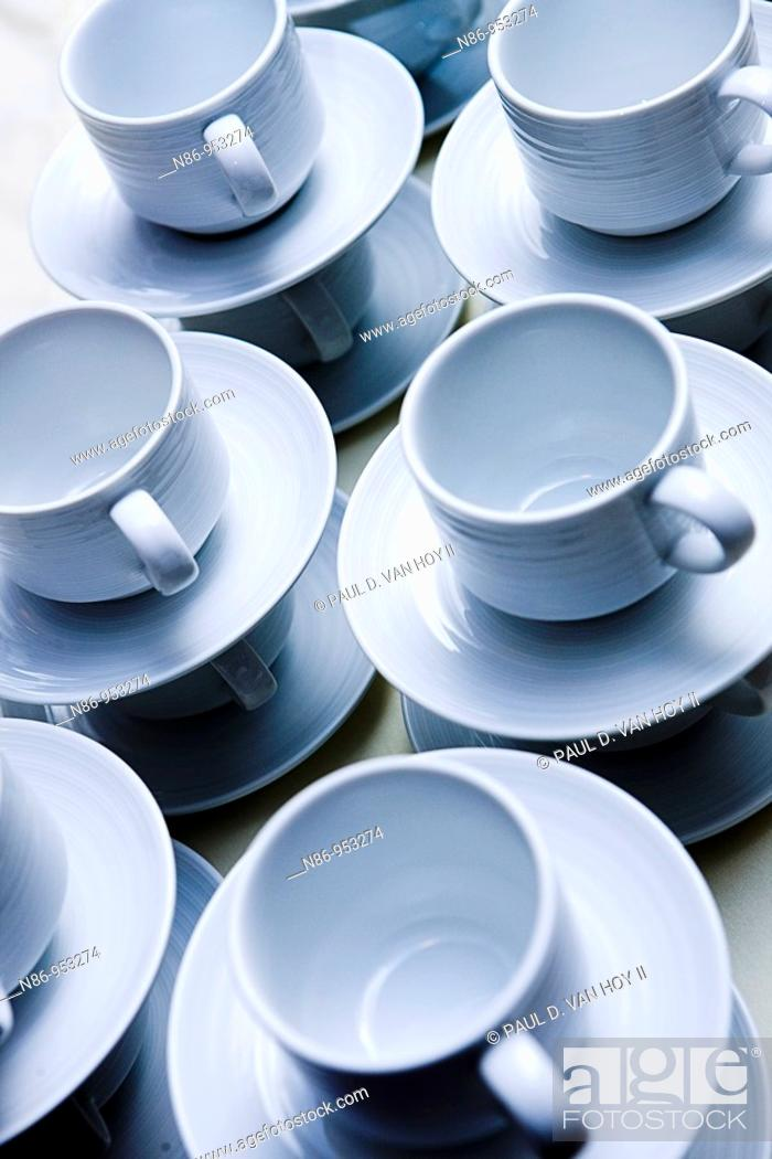 Stock Photo: Cups and saucers.