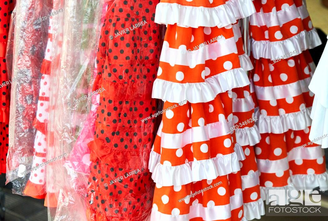 Stock Photo: Shop with Sevillian Dresses.