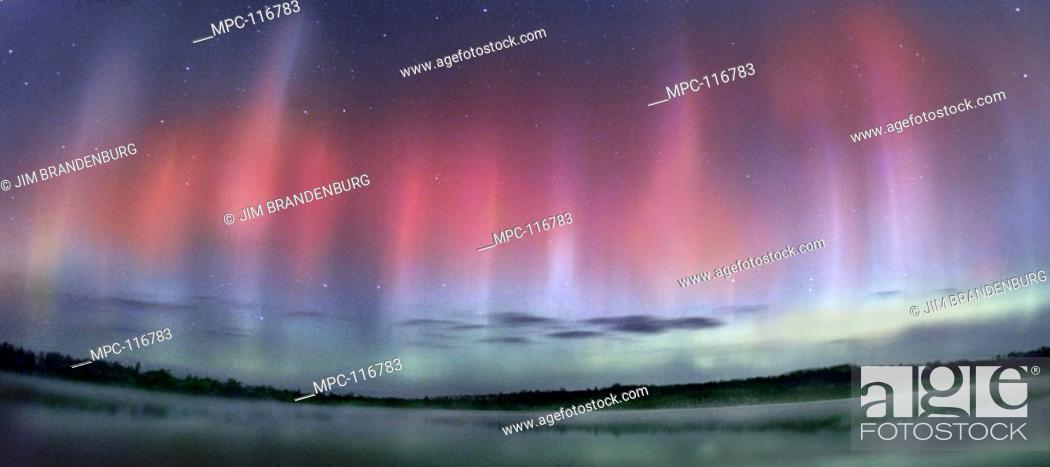 northern lights or aurora borealis over jasper lake northwoods
