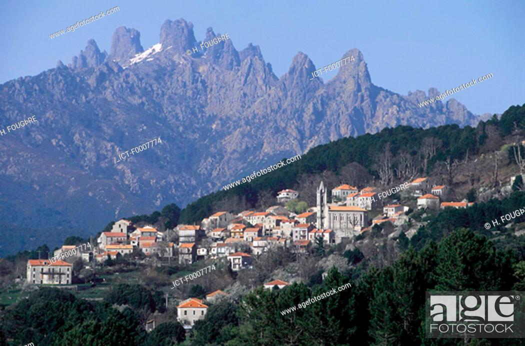 Stock Photo: France, Corsica, Aiguilles de Bavella, village of Nonza.