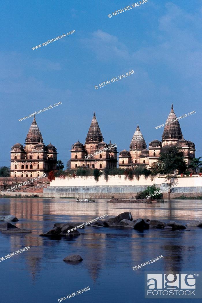 Stock Photo: Chhatris Cenotaphs at River Betwa, Orchha, Madhya Pradesh, India, Asia.