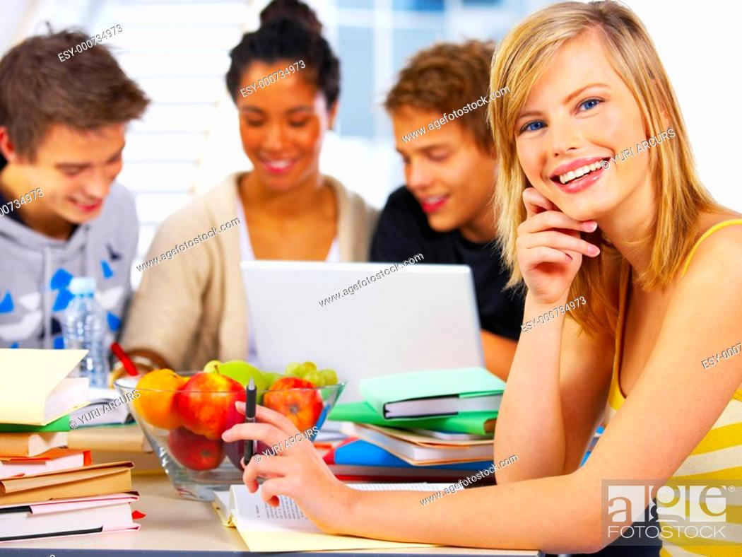 Stock Photo: Portrait of a beautiful young student Taken during their study group.