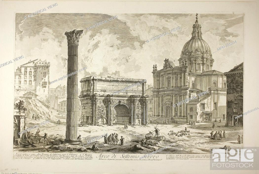 Stock Photo: Arch of Septimius Severus through which passed the ancient Sacred Way, bringing victors to the Capitol, from Views of Rome - 1750/59 - Giovanni Battista.