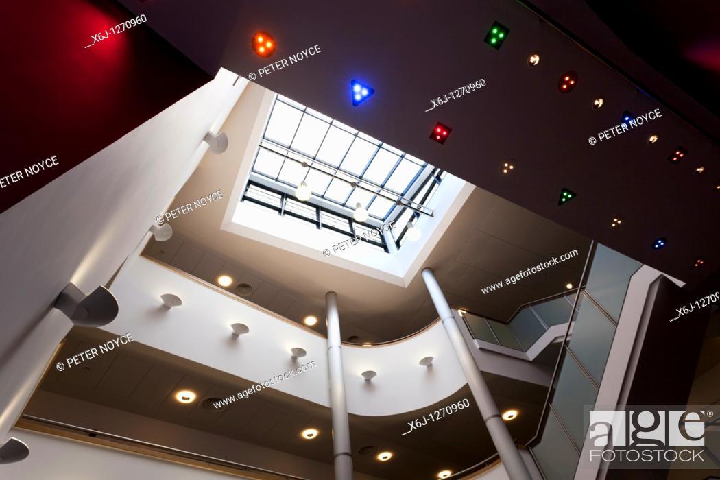 Stock Photo: Entrance foyer atrium to Portsmouth Grammar School New Science Block.