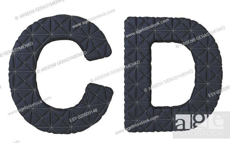 Stock Photo: Luxury black stitched leather font C D letters.