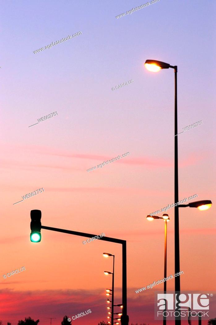 Stock Photo: Traffic signalling and public lighting, Lunéville, Meurthe-et-Moselle. Lorraine, France.