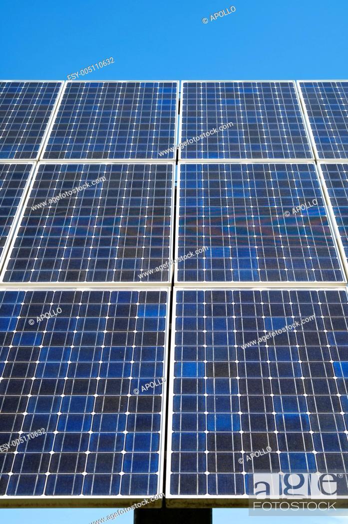 Stock Photo: Polycristalline solar panel moduls.