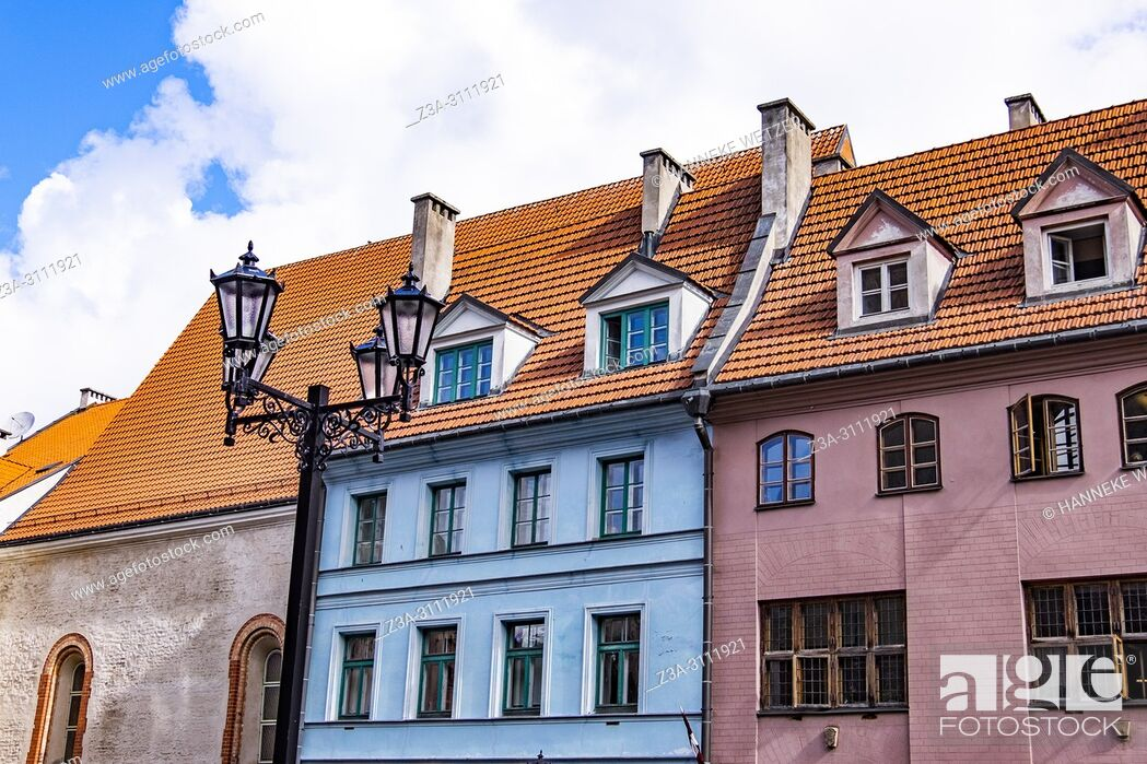 Stock Photo: Colorful houses in Riga, Latvia, Europe.