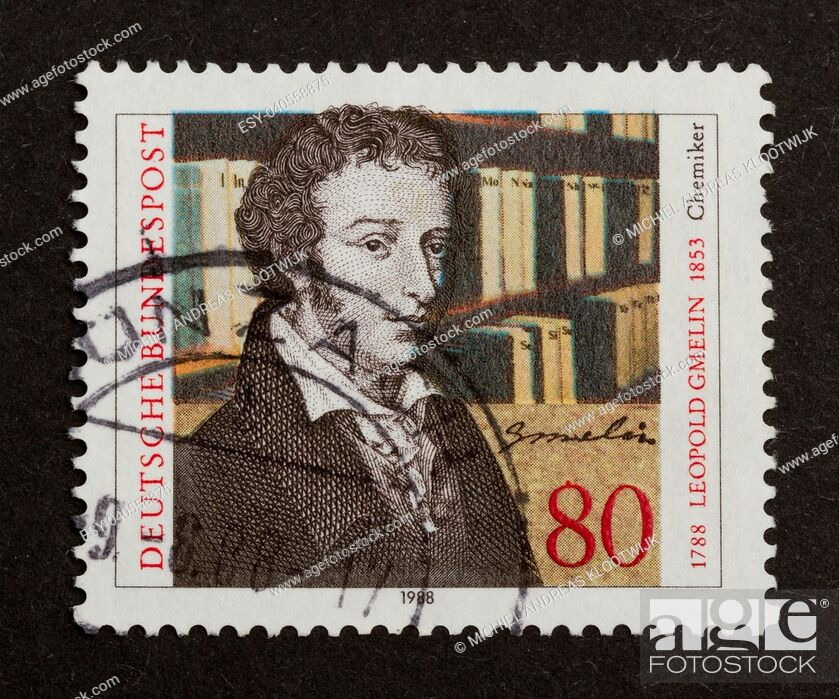 Stock Photo: GERMANY - CIRCA 1980: Stamp printed in Germany shows Leopold Gmelin, circa 1980.