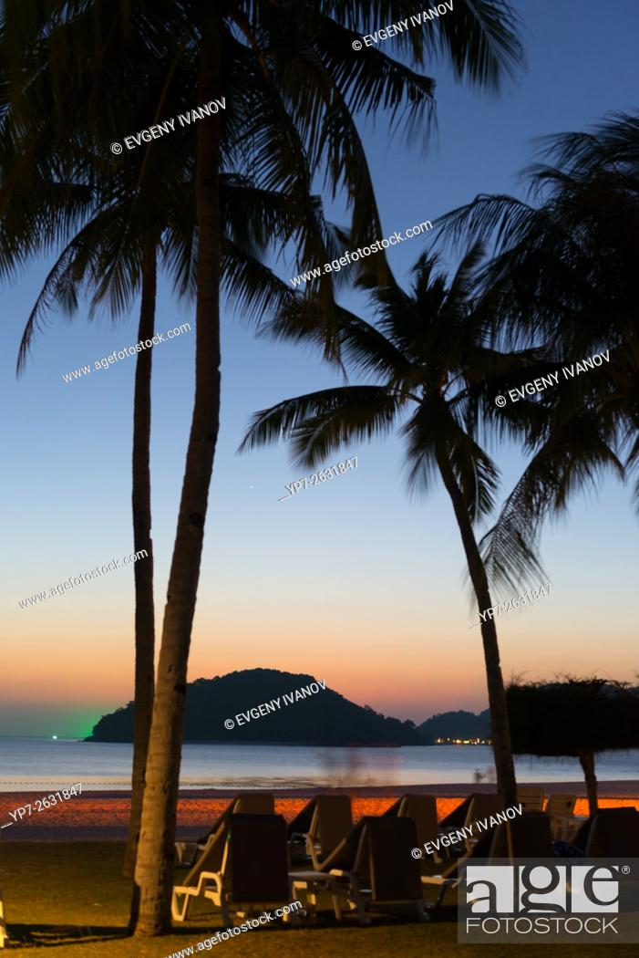 Stock Photo: Colorful sunset on Cenang beach, Langkawi, Malaysia.