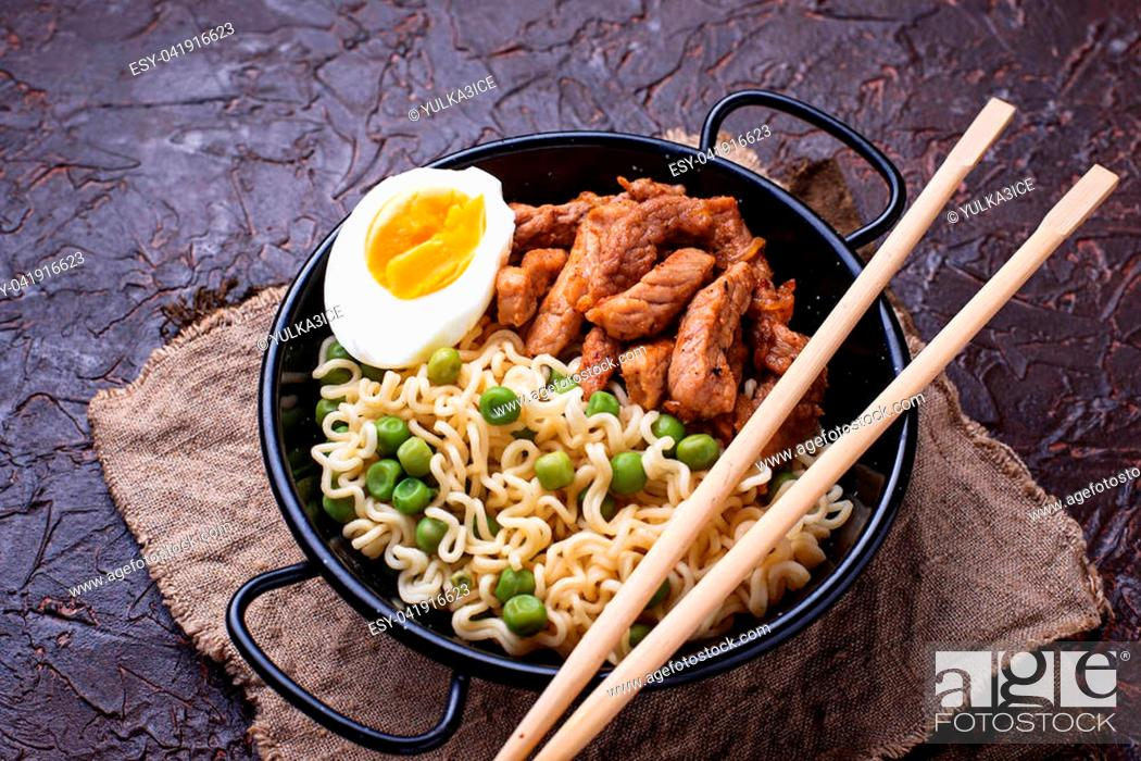 Stock Photo: Ramen noodles with meat, vegetables and egg. Japanese food.