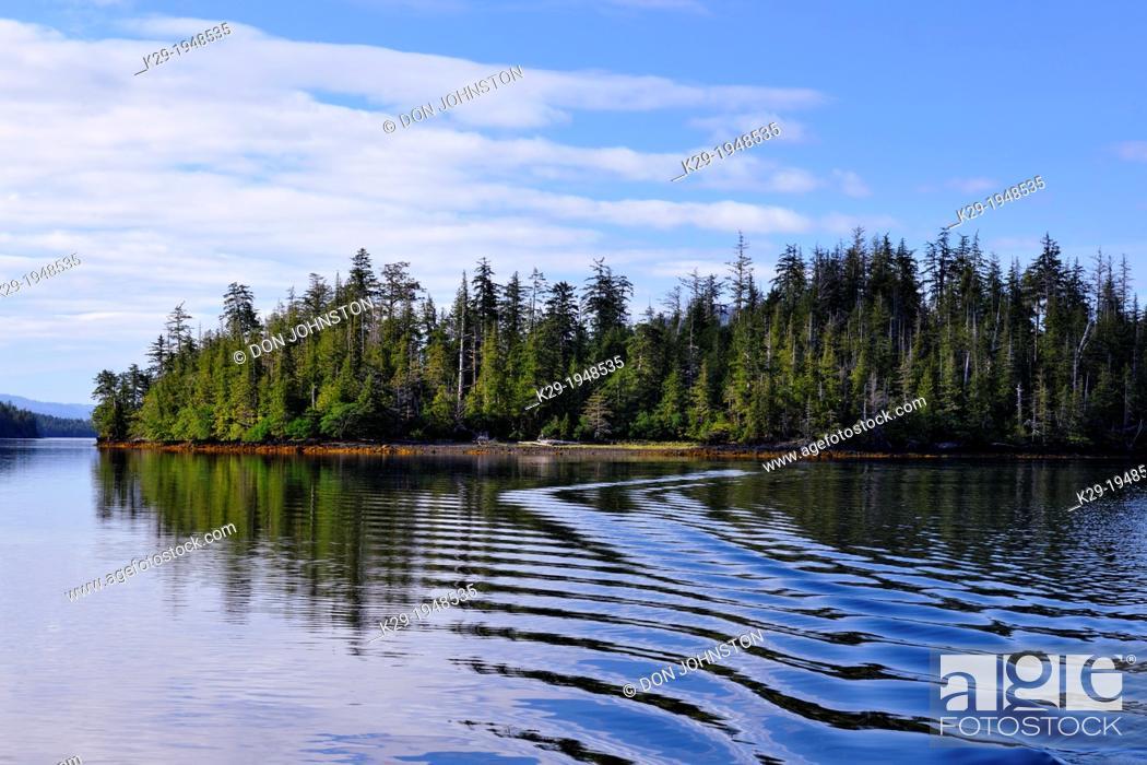 Stock Photo: Reflections in Burnaby Strait, Haida Gwaii (Queen Charlotte Islands) Gwaii Haanas NP, British Columbia, Canada.