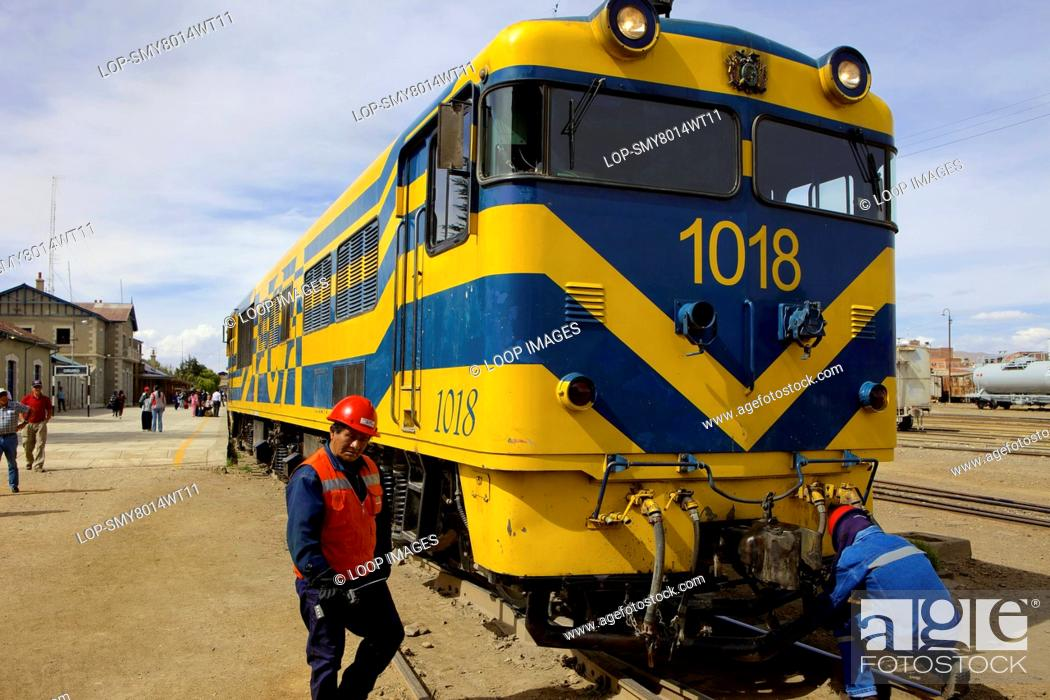 Stock Photo: Train at Oruro train station.