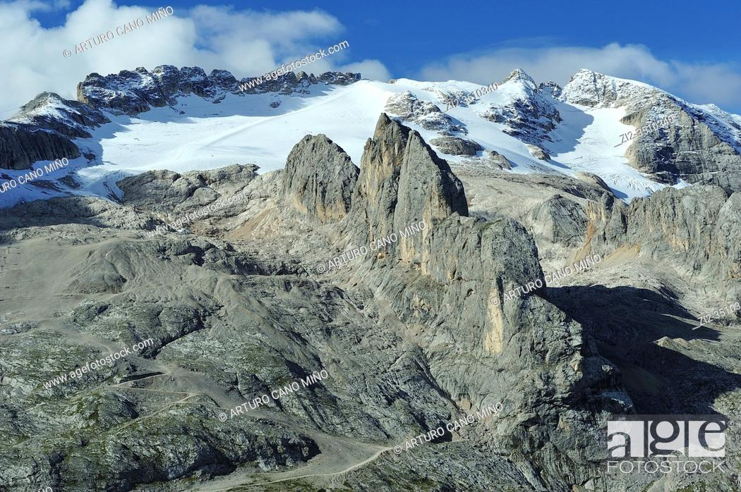 Stock Photo: The Marmolada (3, 342m) is the highest mountain of the Dolomites. They are a mountain range declared a UNESCO World Heritage Site.