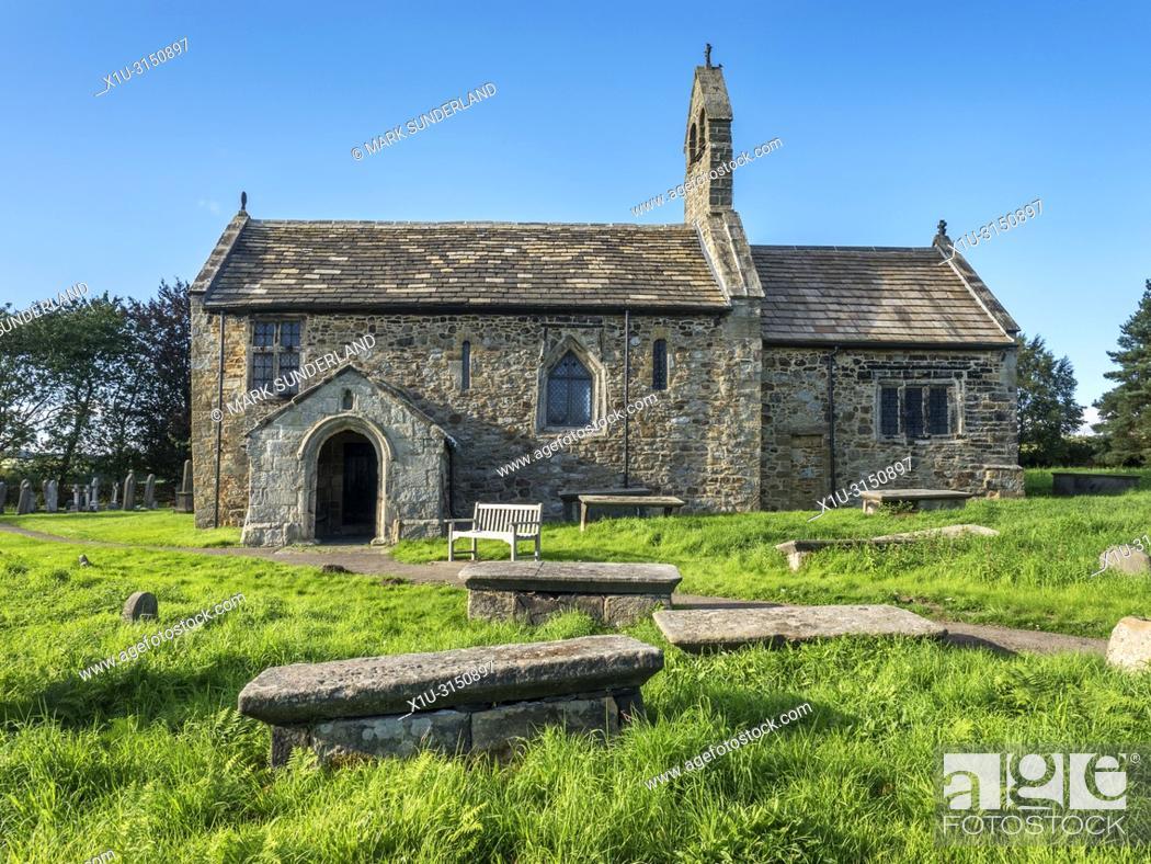 Stock Photo: Historic church of St Mary at Stainburn near Harrogate North Yorkshire England.