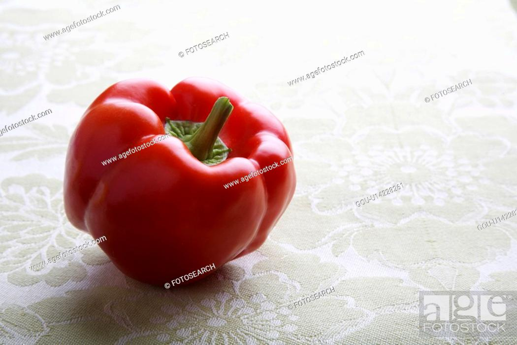 Stock Photo: Single red bell pepper.