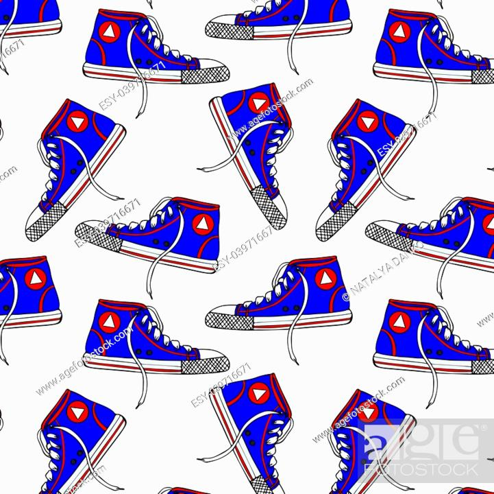 Stock Vector: pattern with blue textile sneakers, isolated on white background.