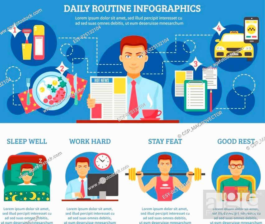 Stock Vector: Man Daily Routine Infographics.