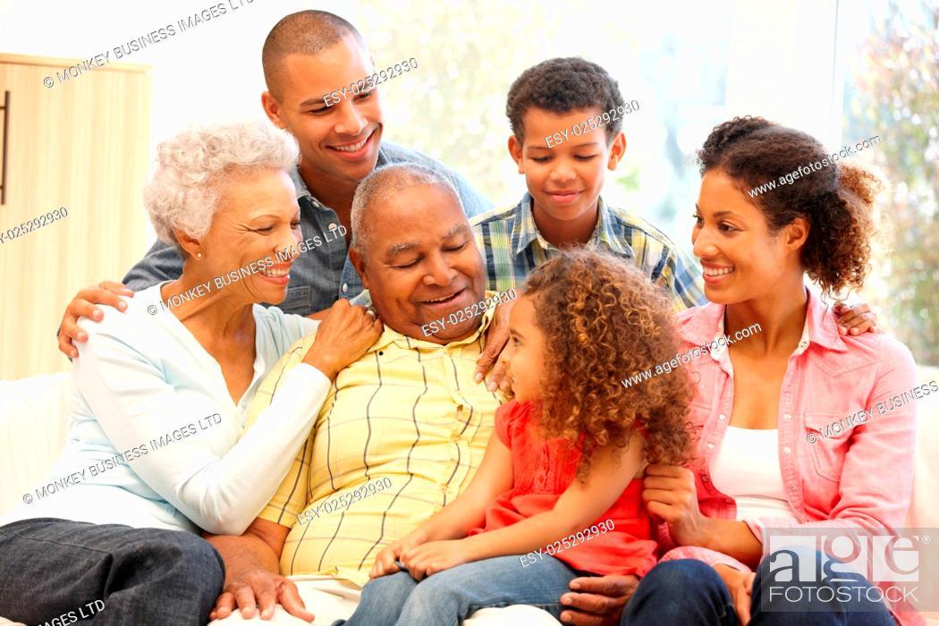 Stock Photo: 3 Generation family at home.