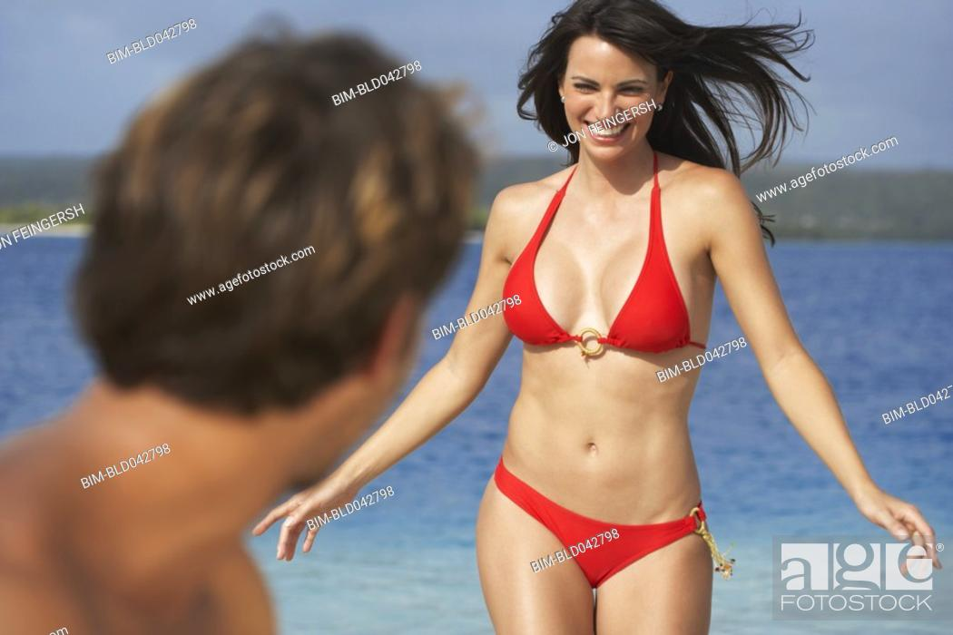 Stock Photo: South American woman at beach.