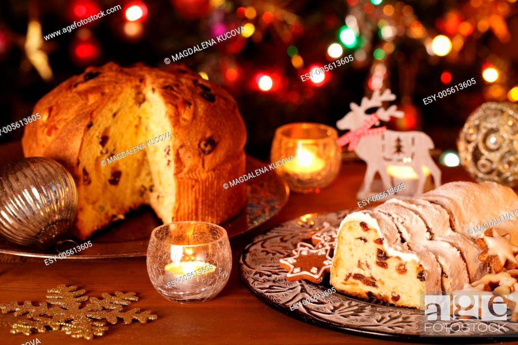 Stock Photo: Christmas stollen, panettone, cookies and decorations.