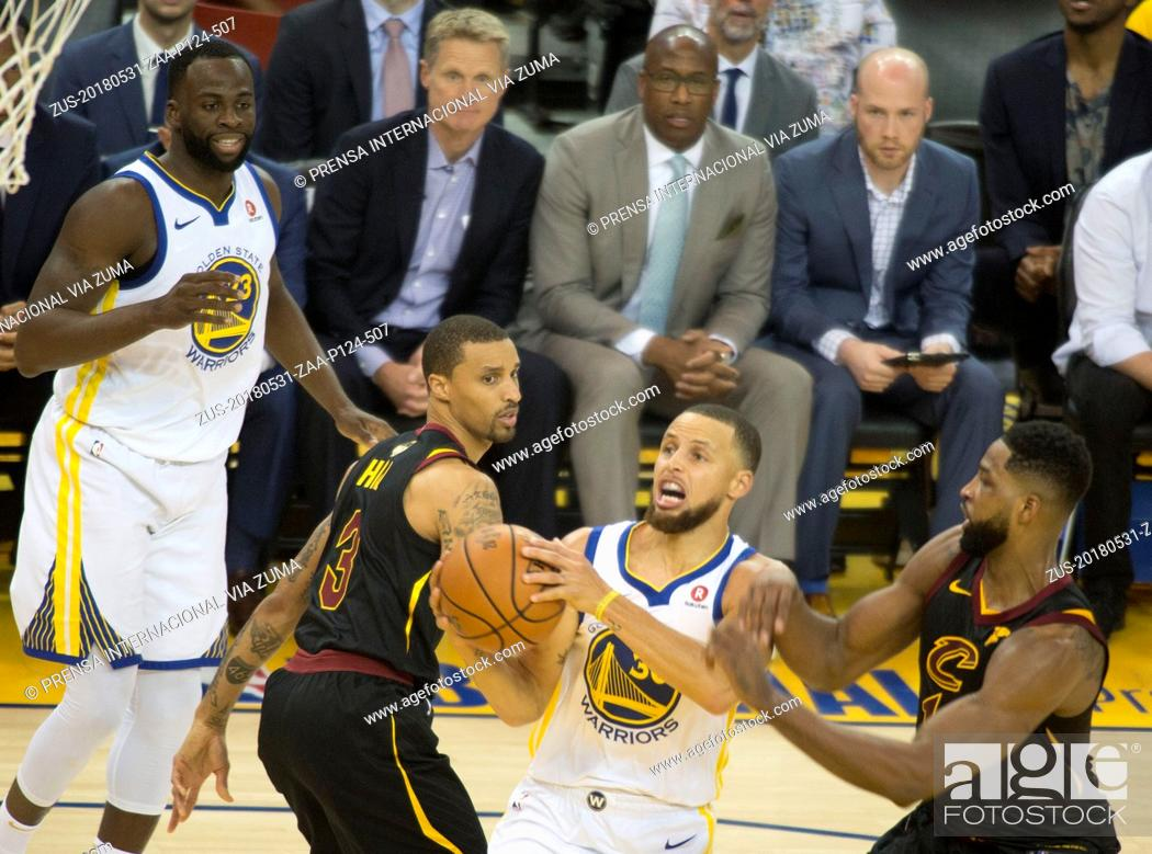 Stock Photo: May 31, 2018 - Oakland, California, U.S - Stephen Curry #30 of the Golden State Warriors, goes for a layup during their NBA Championship Game 1 with the.