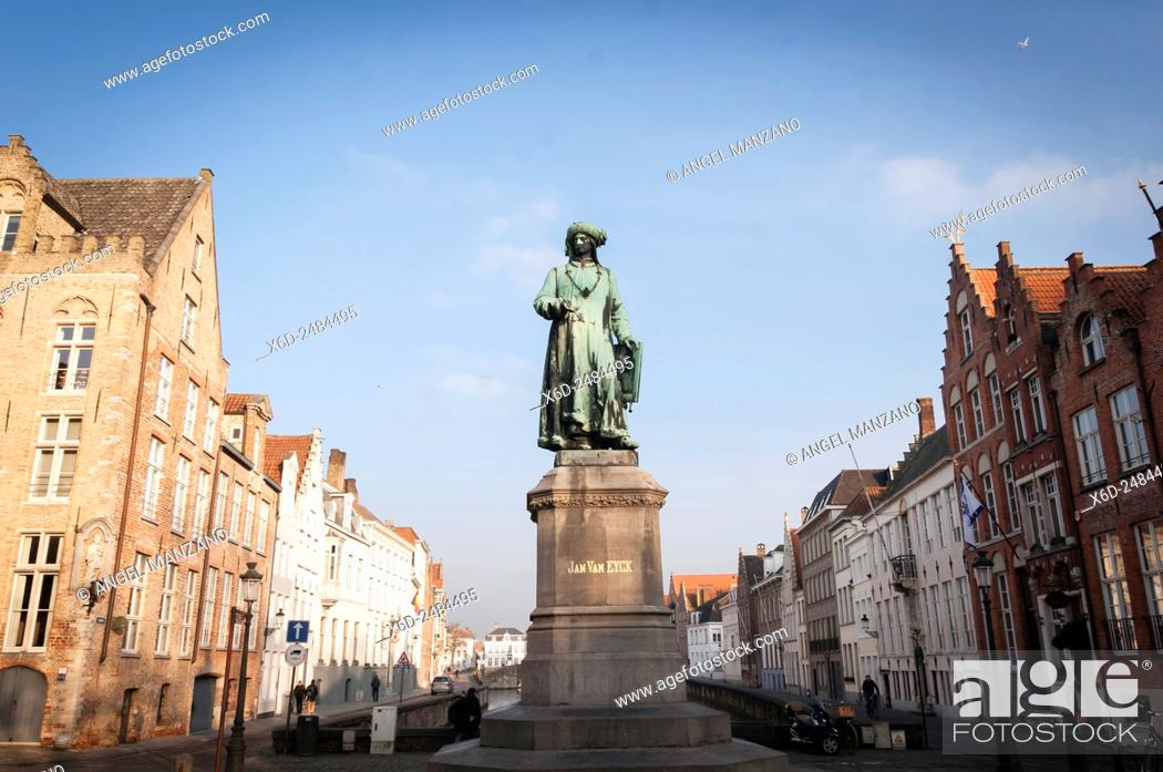 Stock Photo: Van Eyck square, Bruges, Belgium.