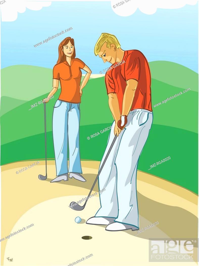 Stock Photo: couple playing golf.