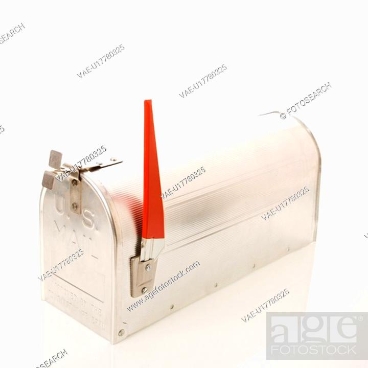Stock Photo: Shiny silver metal mailbox with flag up.
