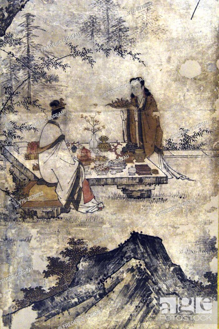 Stock Photo: The Queen Mother of the West and Dongfang Sguo,attributed to Kano Motonobui (1477-1559), ink and light color on paper,Muromachi period,16 th century.