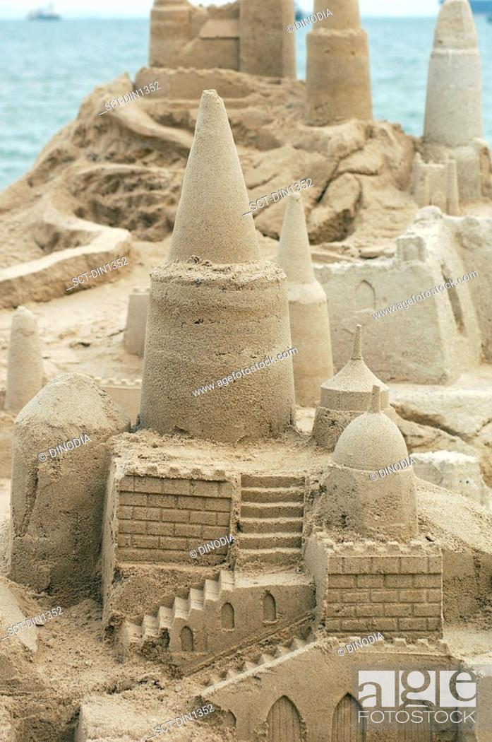 Stock Photo: Sand castle on castle beach at Singapore, South East Asia.
