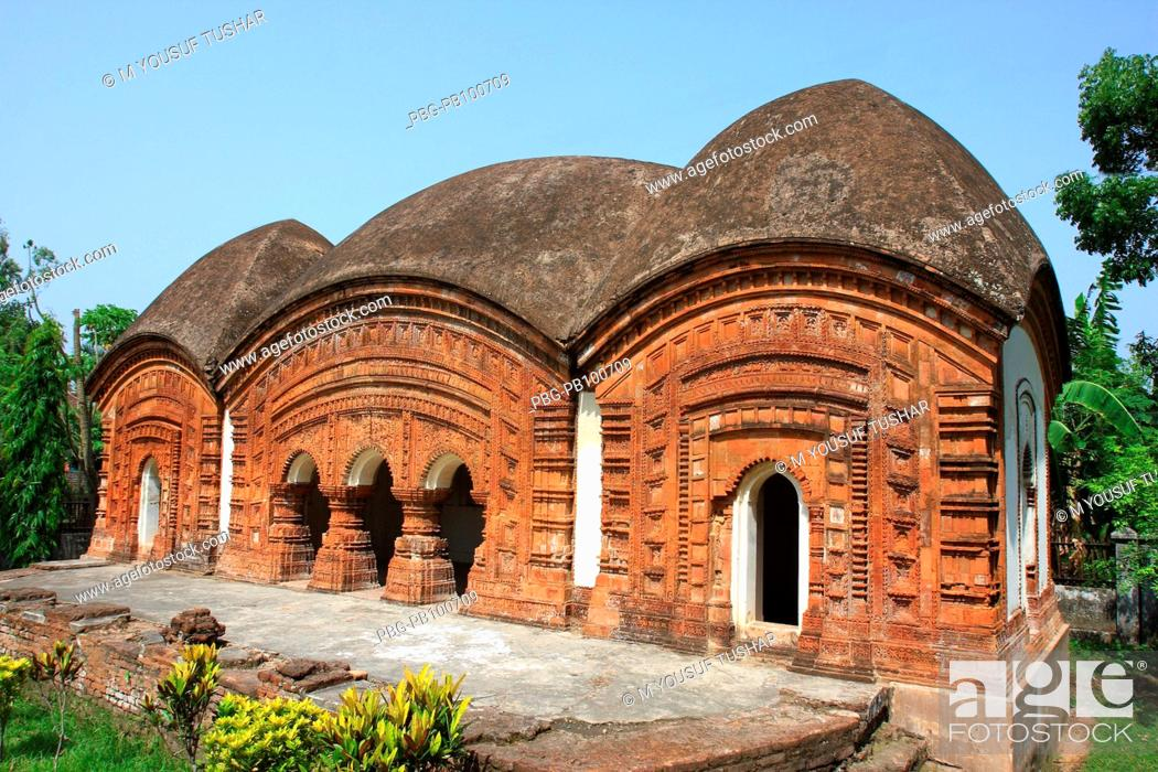 Stock Photo: The Twin Temple, in Puthia palace complex, in Puthia, about 18 miles east of the Northern district town of Rajshahi It was built in 1866 May 10, 2008.