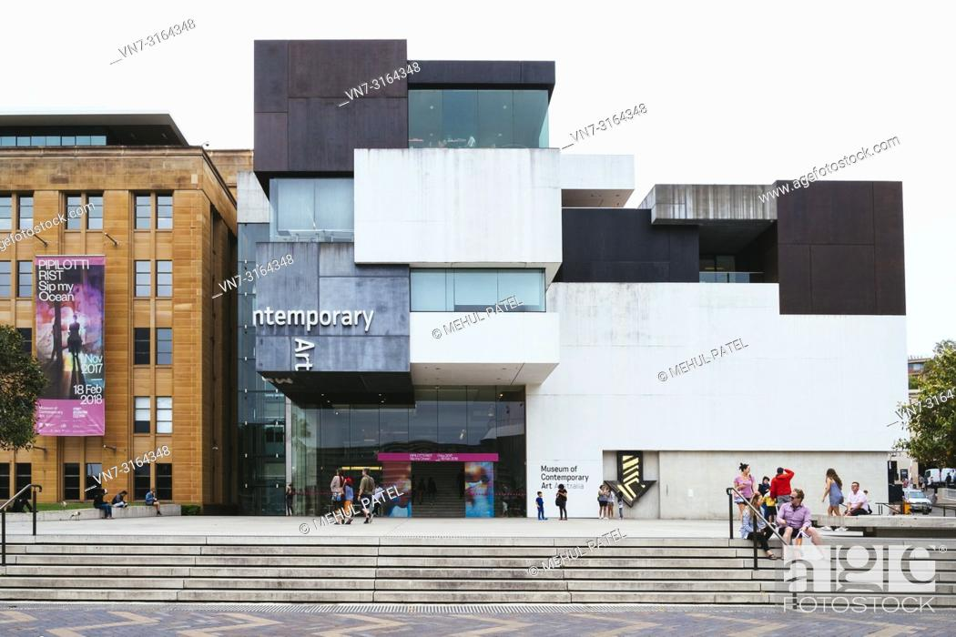 Stock Photo: Outside the new wing of the Museum of Contemporary Art Australia opened in 2012, the Rocks, Sydney, New South Wales, Australia.