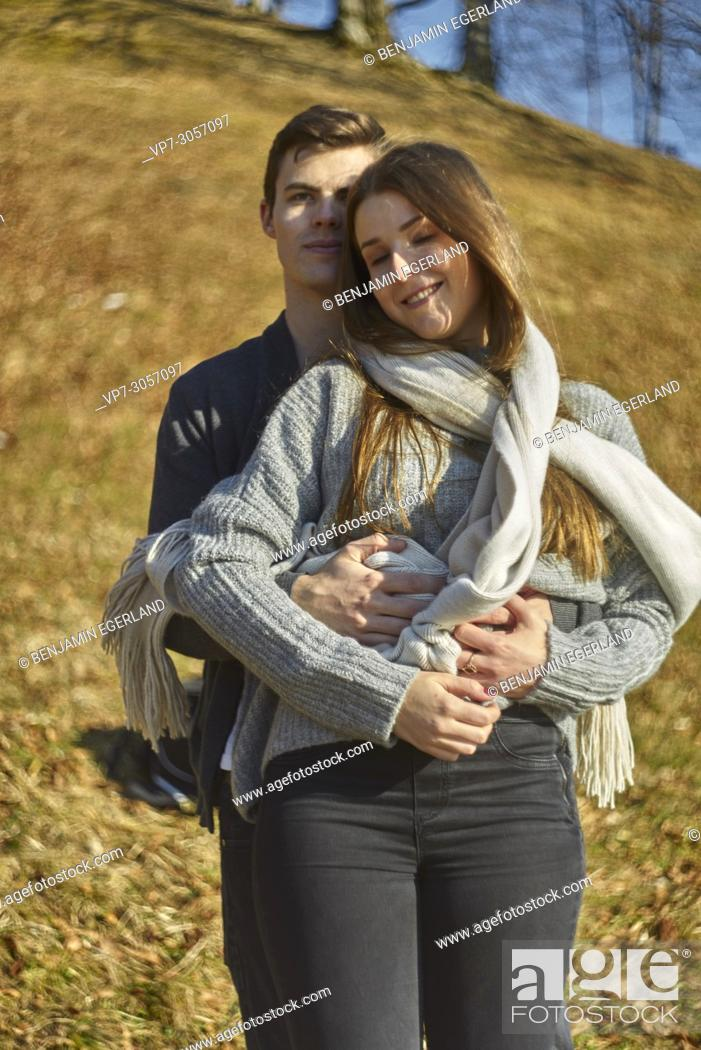 Stock Photo: Tegernsee, Germany, couple embracing.