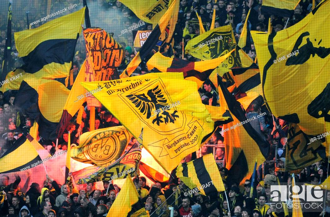 Fans Of The Football Club Bvb Borussia Dortmund On The South Stand With Flags And Bengal Flares Stock Photo Picture And Rights Managed Image Pic Ibr 2250668 Agefotostock