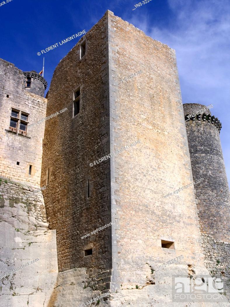Imagen: tour, rempart, ciel bleu, douves, france, lot-et-garonne, chateau de bonaguil médiéval.