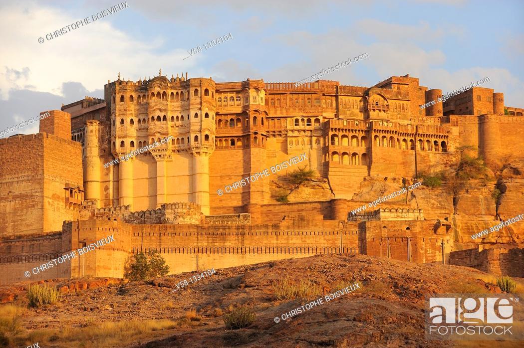 Stock Photo: India, Rajasthan, Jodhpur, Mehrangarh fort.
