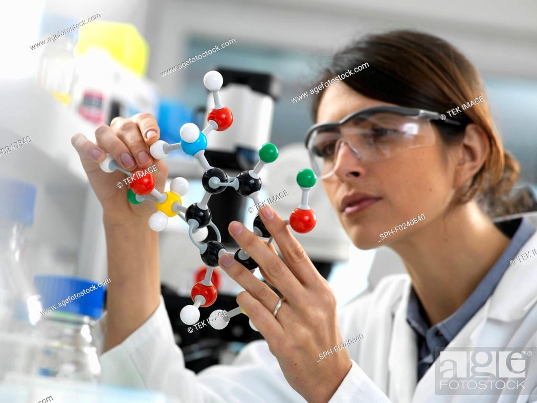 Stock Photo: Female scientist designing a chemical formula using a ball and stick molecular model in the laboratory.