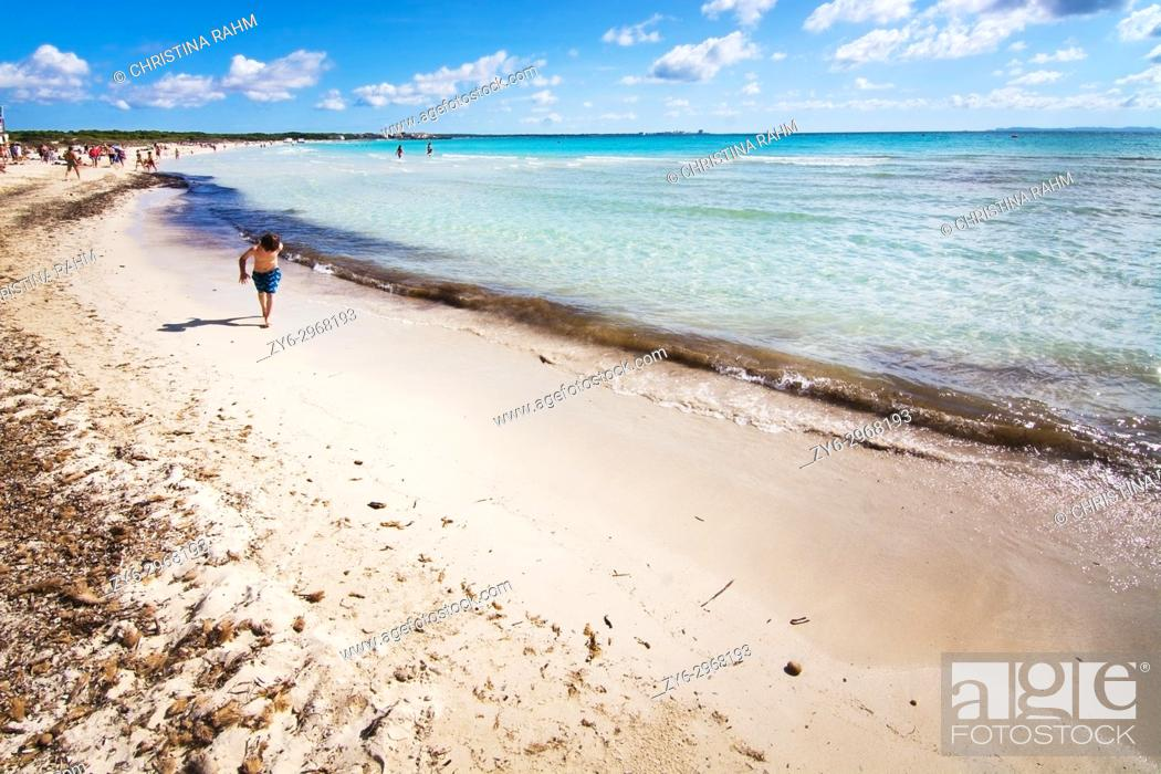 Stock Photo: Es Trenc beach on a sunny day in October in Mallorca, Balearic islands, Spain.