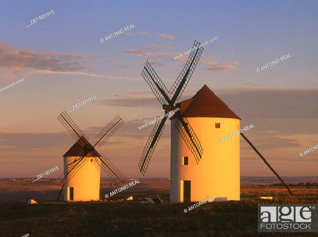 Stock Photo: Windmills, Mota del Cuervo. Cuenca province, Castilla-La Mancha, Spain.