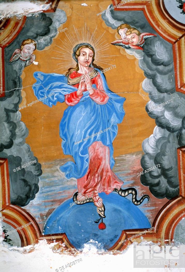 Imagen: The Virgin Mary, fresco, Chateau de Barroux, Provence-Alpes-Cote d'Azur, France.