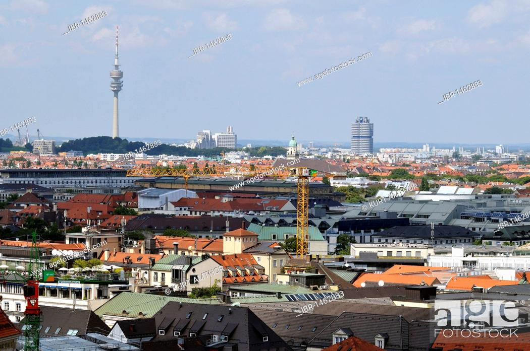 Stock Photo: View from Alten Peter, St. Peter's Church, towards Olympic Tower and the BMW Tower, Munich, Bavaria, Germany, Europe.