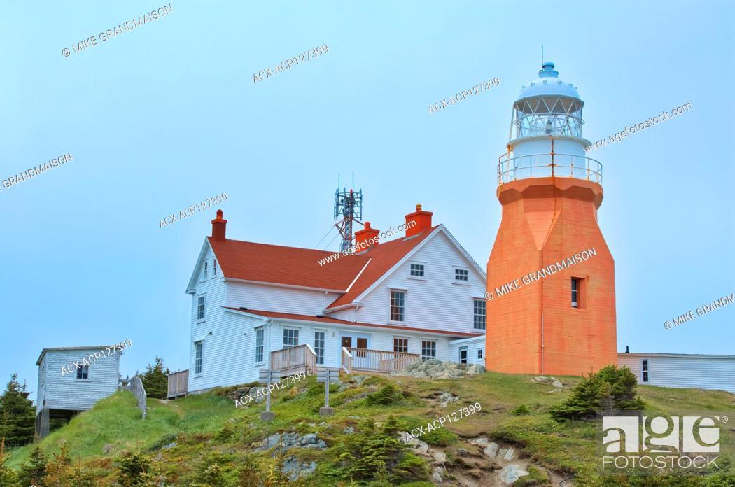 Stock Photo: Long Point Lighthouse at Crow Head. Atlantic Ocean. North Twillingate Island Newfoundland & Labrador Canada.